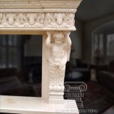Mensola del camino di marmo del camino intagliata mano meravigliosa con le colonne di angelo di rimorchio