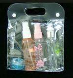 Sac cosmétique de PVC de plastique clair respectueux de l'environnement avec des boutons