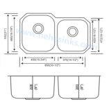 Sous le bassin de cuisine d'acier inoxydable de cuvette de double de support (8553AL)