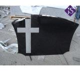 Absolument monument en pierre de granit noir, croix de cimetière de la pierre tombale pour