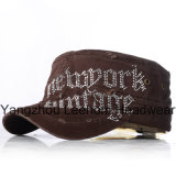 Rhinestones Applique Fashion Blingbling Distressed Washed Military Army Cap
