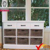 Piccolo Sideboard di legno dell'annata della pittura bianca Handmade