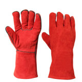 De rode Hittebestendige Handschoenen van het Lassen van het Werk van het Leer van de Veiligheid van de Hand Beschermende