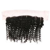 Toupee 100% indiano do cabelo humano do Virgin cheio malaio profundo da cutícula do cabelo da onda 13X4