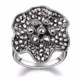 Цветка типа оптовой цены кольцо ретро форменный черное кристаллический