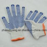 Constructeurs blancs blanchis de gants de main de coton pointillés par PVC en Chine