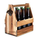Pack de 6 botella de cerveza la caja de soporte de madera para la cocina o en el exterior