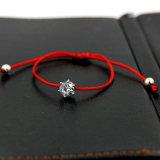 Bracelet mince de chaîne de caractères d'amorçage de corde rouge de Crystalszircon de Rhinestones argentés de couleur