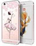 De alta calidad de lujo Rhinestone Crystal Teléfono de los casos de baile de la flor chica modelo case para iPhone