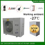 Invertitore aria-acqua spaccato freddo della pompa termica della sala 12kw/19kw/35kw R407c Evi del tester del riscaldamento di pavimento di inverno di -25c 100~350sq Monobloc