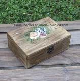 Retângulo cor retro caixa de embalagem de madeira para joalharia