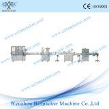 Máquina que capsula automática con la línea de embalaje de relleno y de etiquetado