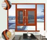 ヨーロッパ式の木製の開き窓ガラスWindows、表面仕上げまたは外側または垂直は開いたに蝶番を付けた