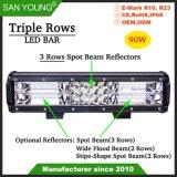 Triple rangée de projecteur de barre d'éclairage à LED Spotlight 90W barre LED