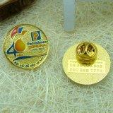 Pin photogravé de revers d'or en laiton fait sur commande en métal