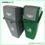 Plastiek die de Milieuvriendelijke Bak van het Huisvuil met het Deksel van de Duw bevinden zich