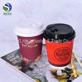 16 Unze-Kräuselung-doppel-wandiger Kaffee-Papiercup mit schwarzer Kappe