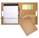 Personnalisé Papier Kraft Eco A4 Mémo Le bloc-notes de dossier avec des notes adhésives et Pockect de fichier