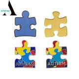 Distintivo all'ingrosso di Pin di puzzle di consapevolezza di autismo dello smalto del metallo