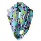 Écharpe Chiffon d'infini de polyester estampée par géométrie de mode de femmes (YKY1119)