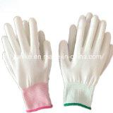 Белая полиэфирная гильзу с белым покрытием PU защитные перчатки