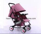 Carrinho de criança de bebê de dobramento do linho com cesta