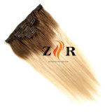 Pelo del clip in/on del color de Ombre para los productos de la extensión del pelo humano
