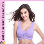 Fashion Women Double Front Closure Sports Genie Bra avec dentelle (15030)