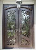 Kundenspezifische quadratische oberste bearbeitetes Eisen-doppelte Tür mit ausgeglichenem Glas