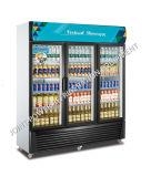 Refroidisseur de boissons porte en verre commercial vertical congélateur d'affichage