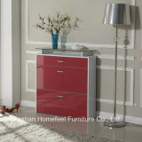 Moderne 3 Drawers High Gloss Shoe Cabinet mit Glass Top