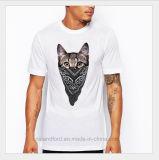 Le T-shirt 100% des hommes chauds de Saling de chat d'OEM de coton frais de blanc