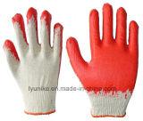 Красный с покрытием из латекса хлопка трикотажные рабочие перчатки