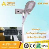 5 anos de garantia 30W 40W 50W 60W LED Solar Luz de rua com painel solar mono separados