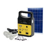 2018 10W Inicio Solar Sistema Solar el Kit de iluminación con radio FM, reproductor de MP3 Lámpara Solar con la lámpara 3