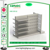 Double étagère latérale de supermarché en métal avec l'élément d'extrémité