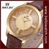 Vigilanza impermeabile del cuoio dell'oro della Rosa della vigilanza del diamante di Belbi di modo d'avanguardia femminile di modo