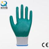 les nitriles bleus d'interpréteur de commandes interactif blanc du polyester 13G ont enduit des gants de travail de sûreté