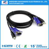 Câble du commutateur KVM 2 en1 USB 2.0 de type A à B 4 broches + Standard VGA SVGA 15pin ordinateur PC Convertisseur adaptateur de moniteur de l'imprimante
