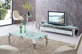 Hogar Moderno salón Muebles de acero inoxidable superior de cristal juegos de mesa de comedor