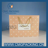 Ladies ShoppingのためのピンクのPolka DOT Craft Paper Bag