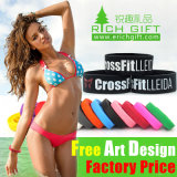 Bracelet promotionnel de silicones de qualité avec le logo rempli par Debossed