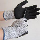 Hppeの手袋はサンディのニトリルによって切られた抵抗力がある中華なべの手袋に塗った