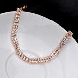Bracelete de cristal do tênis do ouro de imitação de Rosa da jóia