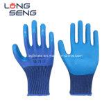 Blauwe Katoenen van de Kreuk van het Latex Palm Met een laag bedekte Beschermende Veiligheid die de RubberHandschoenen van de Hand met Fysieke Compressie werken