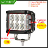36W atirador do lado da luz LED de luz LED para Offroad 4X4 com 4 polegadas de Flash de aviso