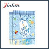 sacs en papier de cadeau d'achats d'emballage de cadeau de bébé garçon estampés par 4c