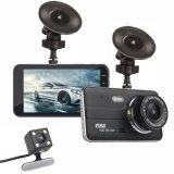 4 pouces de IPS voiture enregistreur HD 1080P Double support de caméra de recul de la came de tableau de bord de la vidéo
