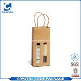La insignia de encargo recicla el bolso de papel impermeable del vino