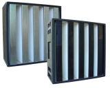 Formulario alta humedad V Verificación Mini-Pleat Glassfiber Medios de Comunicación de HEPA H13 H14 El filtro de aire